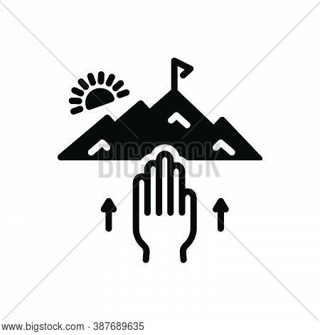 Black Solid Icon For Attempt Effort Try Endeavor Mountain Struggle