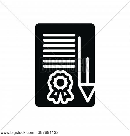 Black Solid Icon For Bond Certificate Securities Contract Agreement Appendage Guarantee Paperwork In