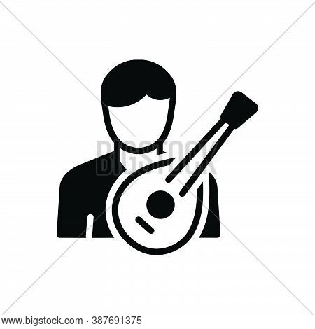 Black Solid Icon For Folk Musician Composer Melodist Harp Lute
