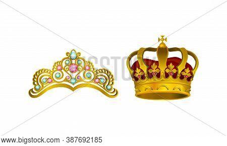 Golden Gem-incrusted Crowns As Monarch Head Adornment Vector Set