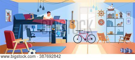 Student Learning Online At Home. Young Teen Lying At Bunk Bed, Looking At Laptop And Studying. Dormi