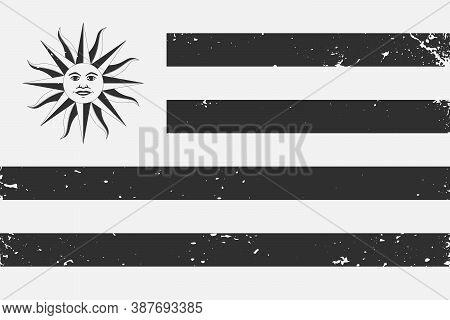Grunge Styled Black And White Flag Uruguay. Old Vintage Backgrou