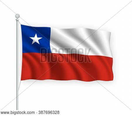 3d Waving Flag Chile Isolated On White Background.