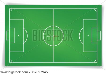 Football Field Or Soccer Field Background. Vector Green Court For Create Soccer Game. Vector.