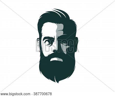 Men Face Beard Style Logo Design Vector