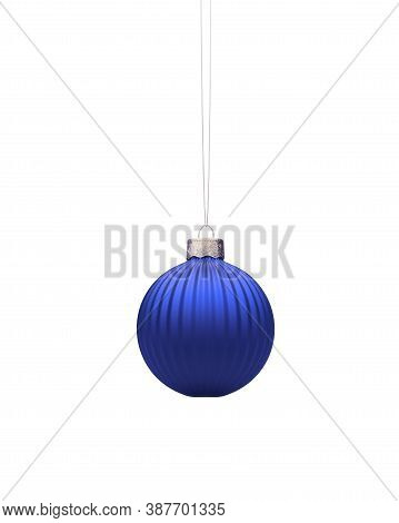 Hanging Royal Blue Christmas Ball. Vertical Striped Christmas Ornament Isolated On White Background.