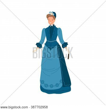 Smiling Fashionable Woman Standing In Elegance Retro Blue Dress And Hat Vector Flat Illustration. Ad