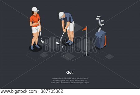Golf, Hobby, Modern Ball Games Concept. Players Using Golf Equipment And Various Clubs To Hit Balls