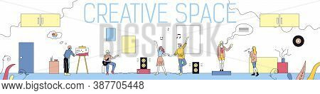 Creative Space, Imagination Concept. Creative Male And Female Characters Playing Guitar, Painting, R