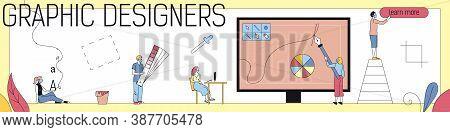 Creative People, Graphic Designers Concept. Graphic Designer S Team Creates The Graphics Primarily F