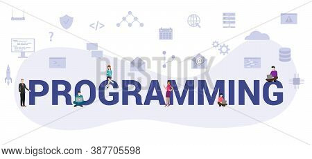 Programming Concept With Modern Big Text Or Word And People With Icon Related Modern Flat Style
