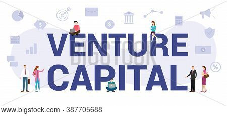 Vc Venture Capital Concept With Modern Big Text Or Word And People With Icon Related Modern Flat Sty