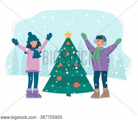 Characters Preparing for New Year and Xmas Celebration. Winter Season. Christmas sale background. Merry Christmas sale card vector Illustration. Christmas background. Merry Christmas card vector Illustration.Christmas. Christmas Vector. Christmas Backgrou
