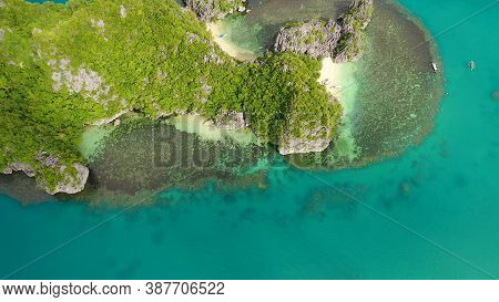 Tropical Islands Kagbalinad And Blue Sea, Aerial View . Caramoan Islands, Philippines. Rocky Islands