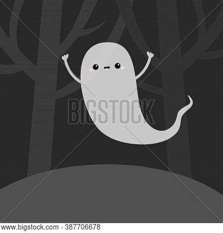 Landscape With Scary Tree Forest Scene. Flying Ghost Spirit In The Dark. Happy Halloween. Cute Carto