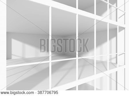 White Empty Business Office Room With White Floor, Ceiling And Walls And Sunlight From Windows View