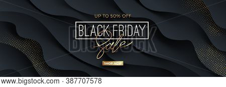 Black Friday Template Design With Black Fluid Wavy Layered Shape And Golden Halftone. Design For Bla