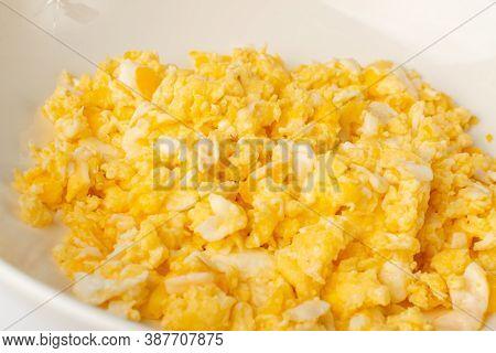 Macro Photo Scrambled Eggs, Omelet, Omelette, Omlet