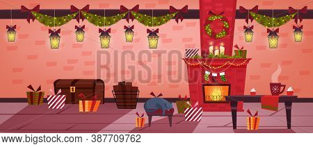 Christmas Holiday Room Interior With Fireplace, Stockings, Sleeping Cat, Table, Presents. Winter Vec