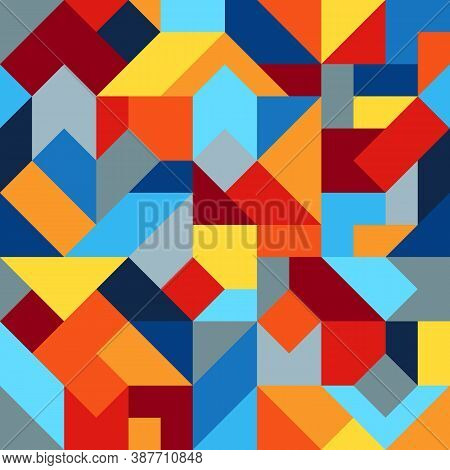 Geometric Colorful Graphic Seamless Pattern Of Simple Polygonal Figures. Harmonious Universal Palett