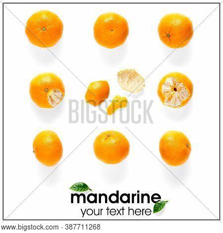 Creative Layout Of Tangerines, Mandarines. Unpeeled And Peeled Ripe Tangerines, Mandarines, Clementi