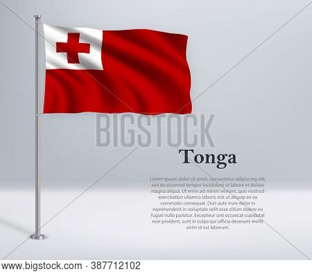 Waving Flag Of Tonga On Flagpole. Template For Independence Day