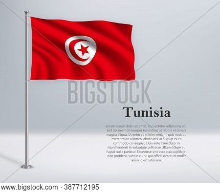 Waving Flag Of Tunisia On Flagpole. Template For Independence Da
