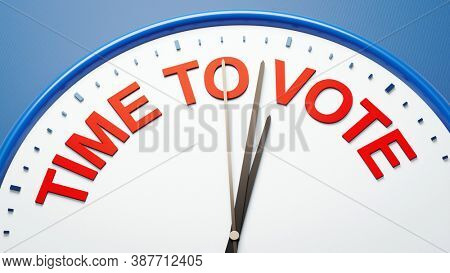 3D illustration a clock time to vote