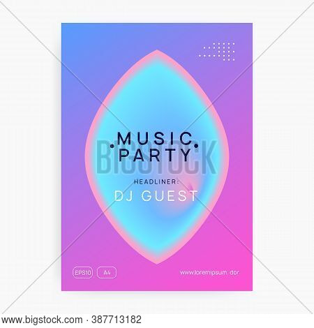 Music Fest. Modern Indie Party Invitation Design. Fluid Holographic Gradient Shape And Line. Electro