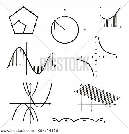 Hand-drawn Algebraic Graphs Of Mathematical Functions. Black And White Outlines For School Textbooks