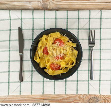 Yellow Italian Pasta Pappardelle, Fettuccine Or Tagliatelle