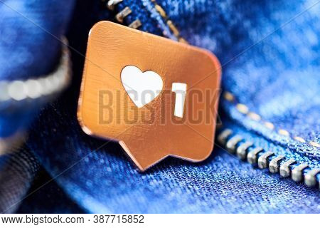 Like Heart Symbol. Like Sign Button, Symbol With Heart And One Digit. Social Media Network Marketing
