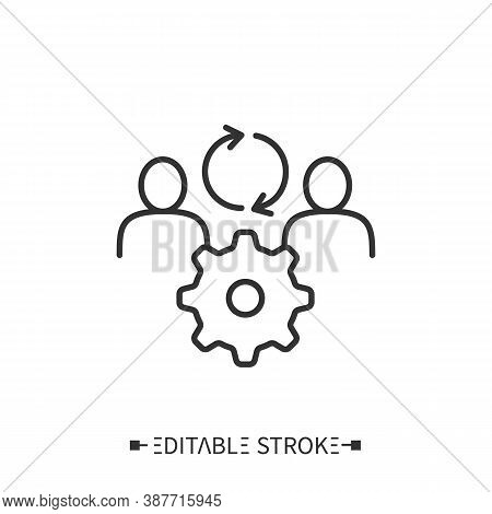 Human Synergy Icon. Circular Arrows Between People. Cogwheel For Collaboration In Work. Outline Draw