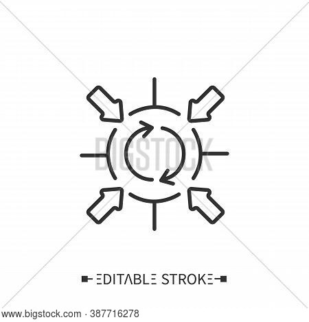 Corporate Synergy Bias Icon. Circular Flow Surrounded By Arrows. Outline Drawing. Overestimating Ben