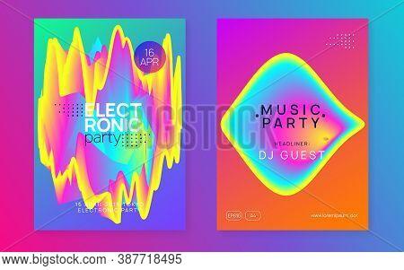 Music Fest Set. Commercial Indie Concert Presentation Template. Fluid Holographic Gradient Shape And