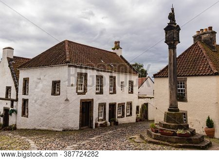 Culross, Fife / Uk - 08/28: Ancient Mercat Cross Monument In Culross, Fife, Scotland Situated Within