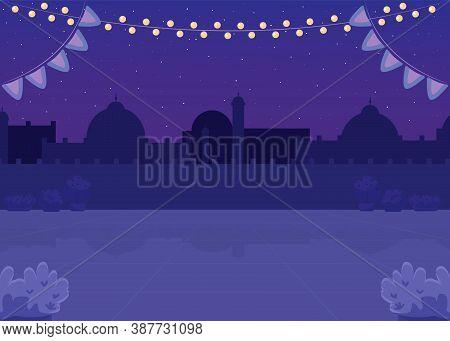 Nighttime Indian Plaza Flat Color Vector Illustration. Lantern Lights For Holiday Celebration. Publi