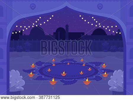 Diya Candles For Celebration Flat Color Vector Illustration. Diwali Celebration Lights. Prayer For R