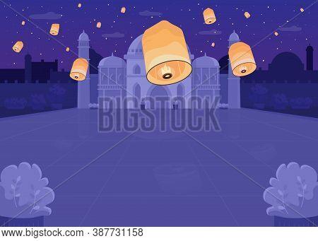 Lantern Festival Flat Color Vector Illustration. Religious Hindu Fest In Public Area. Spiritual Holi