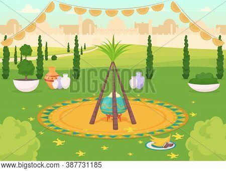 Festive Meal In Public Park Flat Color Vector Illustration. Traditional Hindu Holiday Dinner. Religi