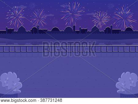 Nighttime Fireworks Flat Color Vector Illustration. Firecrackers Over River Bank. Hindu Festival Eve