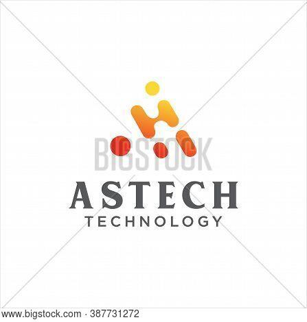 Letter A Logo Neuron Technology Stock Vector. Initial A Tech Logo Design Template. Alphabet A Logo R