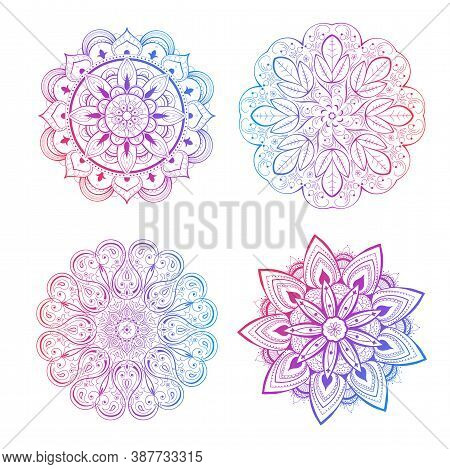 A Set Of Beautiful Mandalas And Lace Circles. Round Gradient Mandala Vector. Traditional Oriental Or