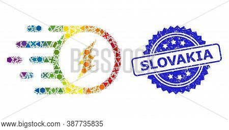 Bright Colorful Vector Electric Charge Mosaic For Lgbt, And Slovakia Rubber Rosette Seal Imitation.