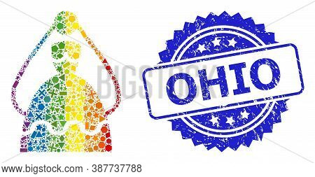 Rainbow Vibrant Vector Bride Mosaic For Lgbt, And Ohio Grunge Rosette Seal Print. Blue Stamp Seal In