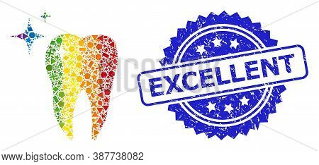 Rainbow Colored Vector Excellent Tooth Collage For Lgbt, And Excellent Scratched Rosette Seal. Blue