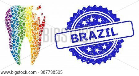 Spectrum Vibrant Vector Cracked Tooth Collage For Lgbt, And Brazil Corroded Rosette Stamp Seal. Blue