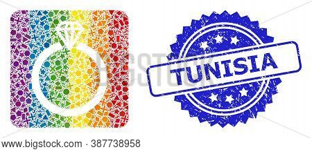 Bright Colored Vector Diamond Ring Collage For Lgbt, And Tunisia Unclean Rosette Seal. Blue Seal Has