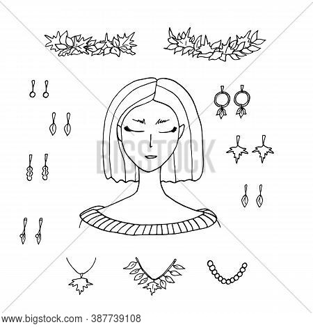 Autumn Fashion Creator. Young Woman And Fall Accessories With Leaves. Earrings, Necklace, Maple Leav
