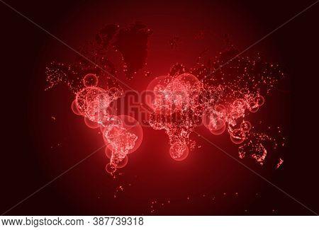 Coronavirus On World Map. World Covid Pandemic. Vector Background Illustration. Red Neon Infographic